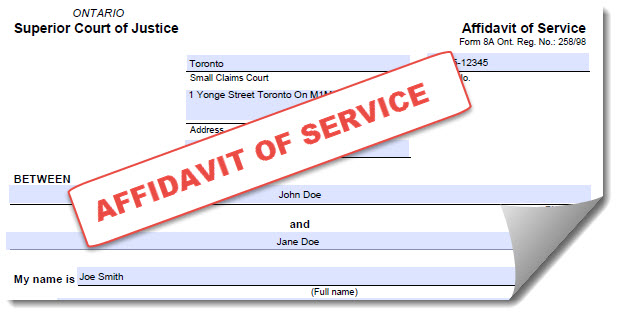 ValetServe pre-populated affidavits